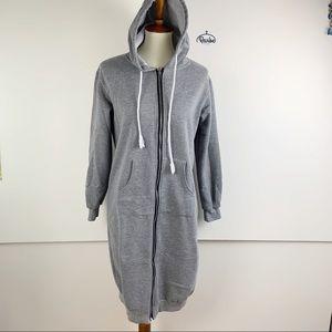 YH Style Zip Long Sleeve Hooded Sweatshirt Dress